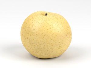 photorealistic scanned nashi pear 3D model
