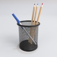 FSlife Mesh Pen Pencil Cup Holder Metal Organizer Medium Black