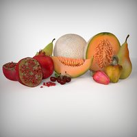 fruits cantaloupe pomegranate cherry 3D model