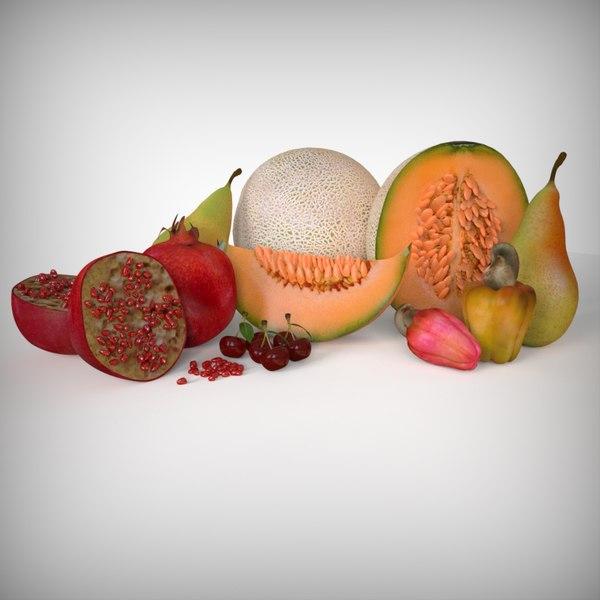 fruits cantaloupe pomegranate cherry 3D model
