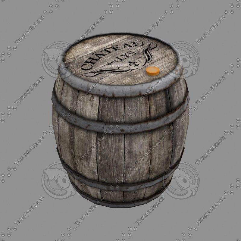 wood wooden barrel 3D model