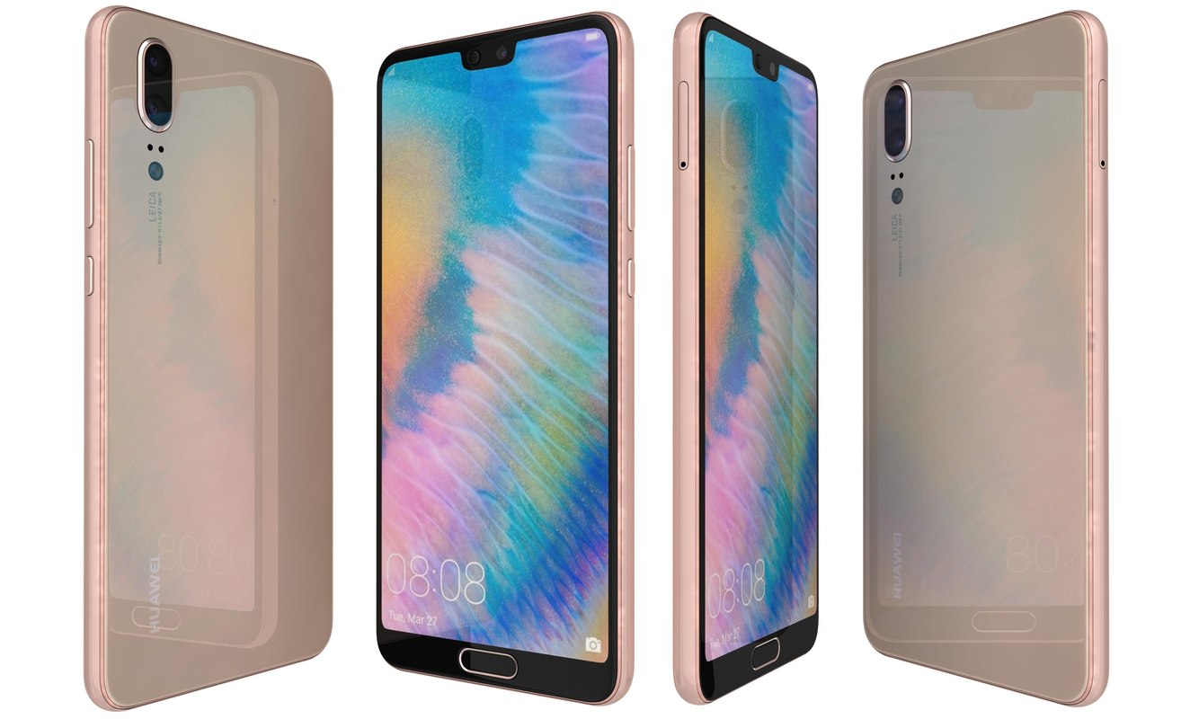3D huawei p20 pink gold model