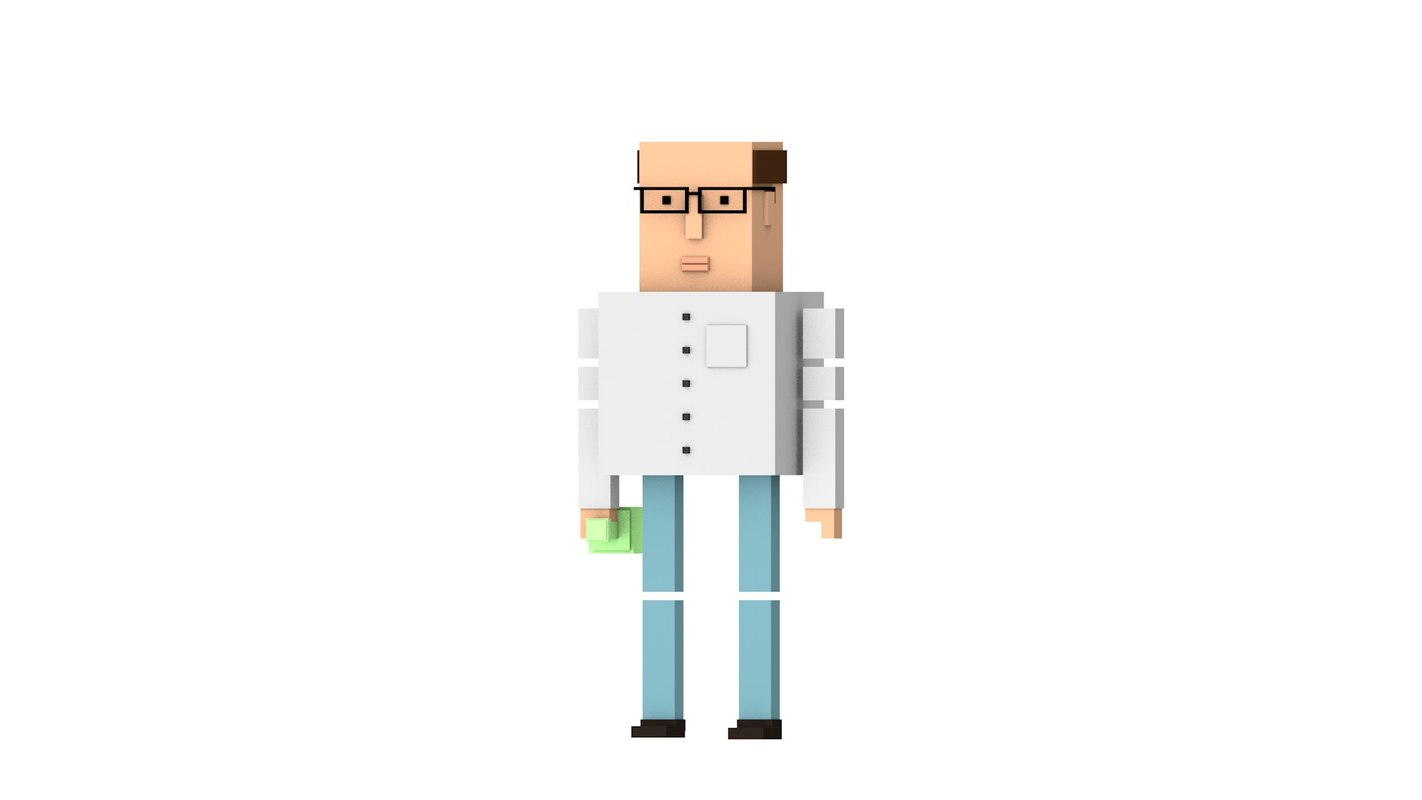 3D model simple scientist man