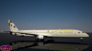 etihad 787-9 dreamliner new 3D model