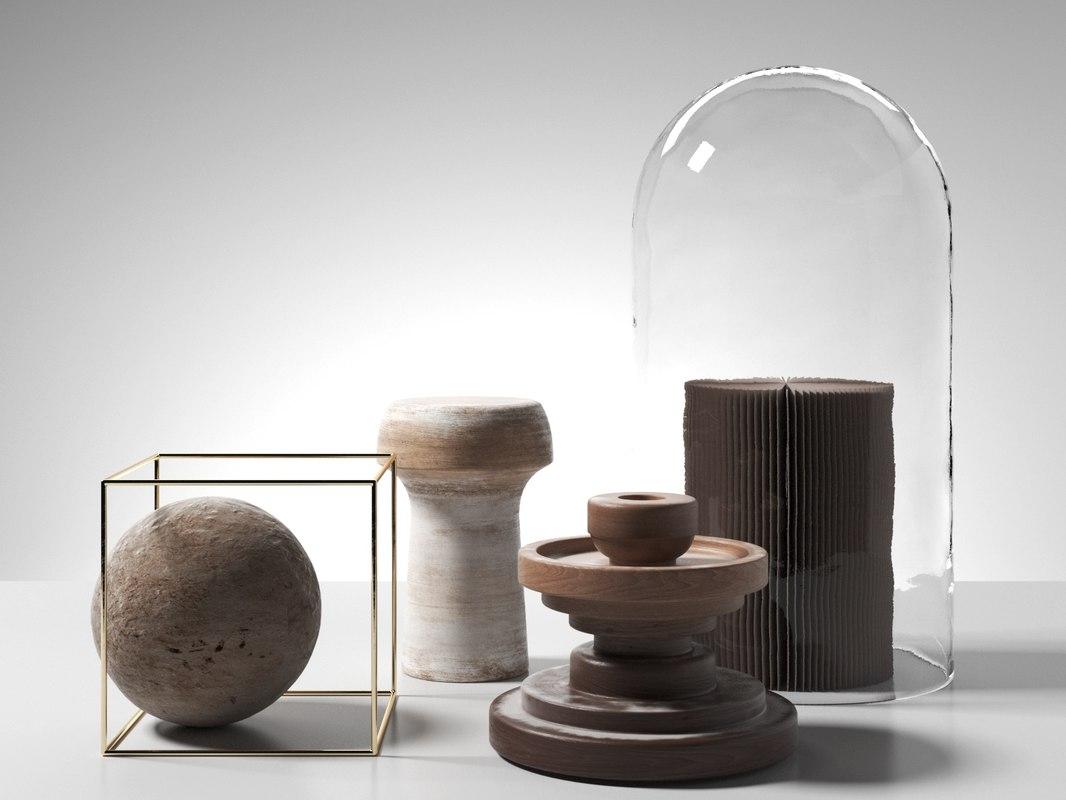 3D decorative objects set 2 model