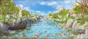 3D model landscape river