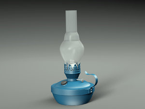 3D old kerosene lamp