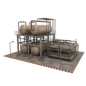 3D oil refinery industrial