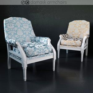 3D damask armchair
