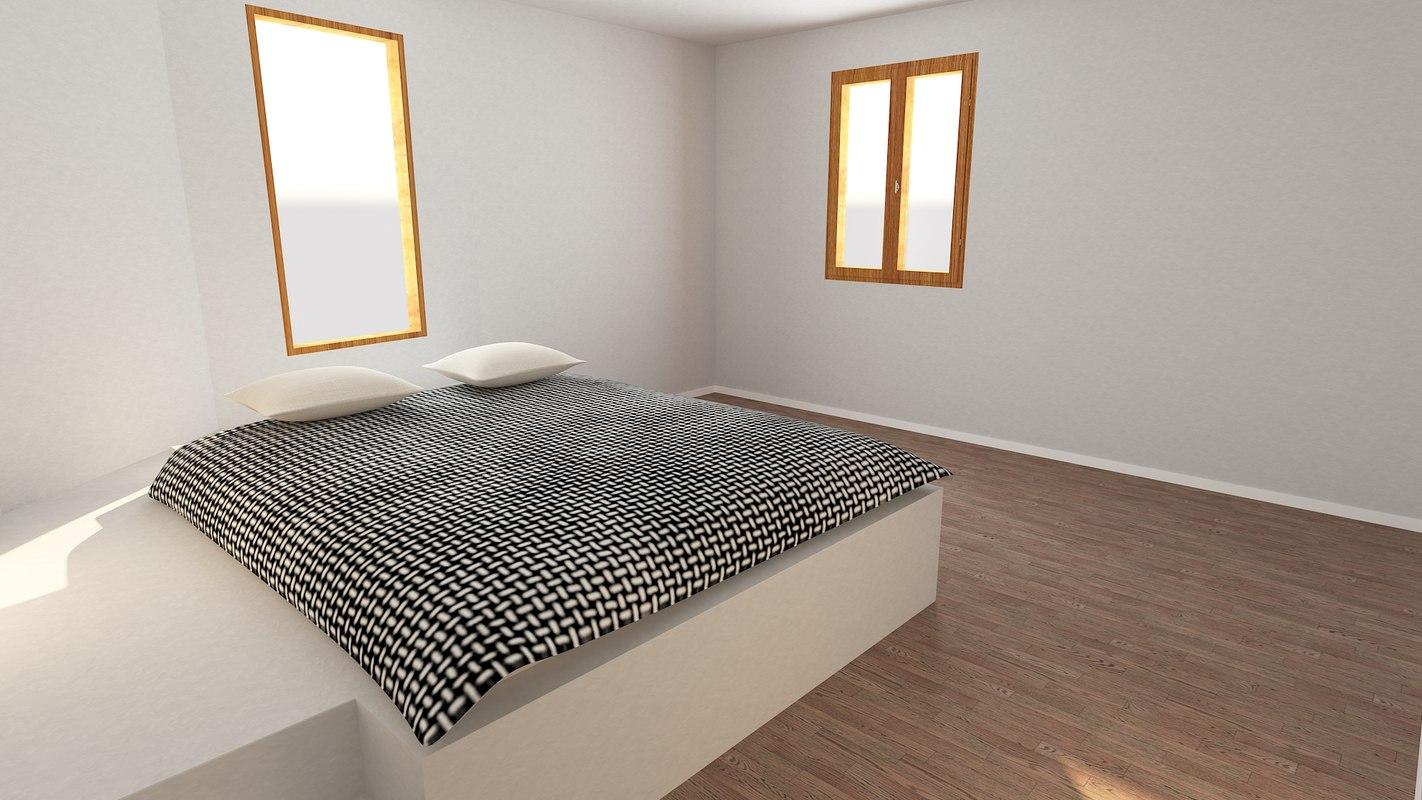 base interior bedroom architectural scenes 3D model