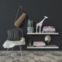 3D model modern interior decoration set