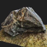 3D realistic scanned mossy rock model