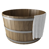 Wooden Hot Tub with towel