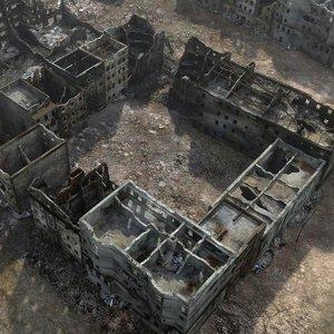 ruined city ww2 warsaw model