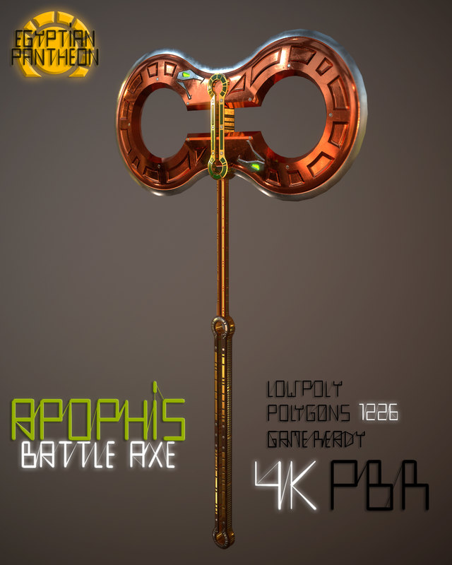 battle axe apophis egyptian 3D model