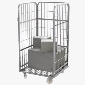 wire mesh roll container 3D model