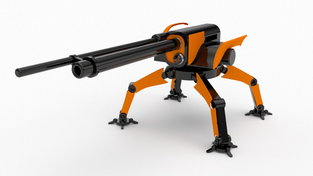 sci-fi deployable turret 3D model
