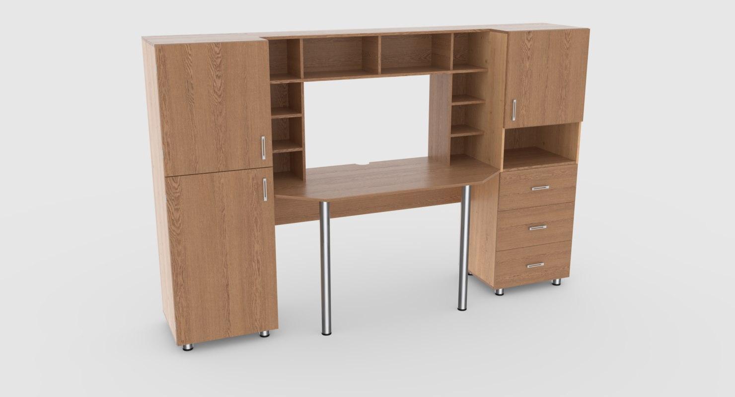 computer desk wall 2 3D model