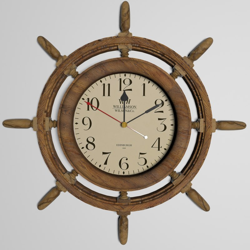 3D wall clock marine interior