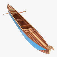 Canoe with Paddle 3D Model