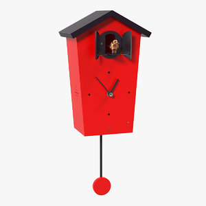 3D cuckoo clock red