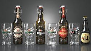 3D beer bottles bernard glasses model