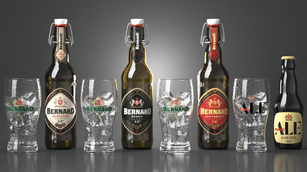 3D beer bottles bernard glasses model