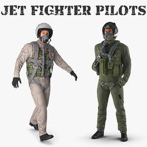 jet fighter pilots 3D model