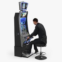 Man Gambling at Slot Machine Rigged with Fur 3D Model