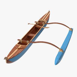 outrigger canoe 3D model