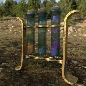 3D model glass tubes substances pbr