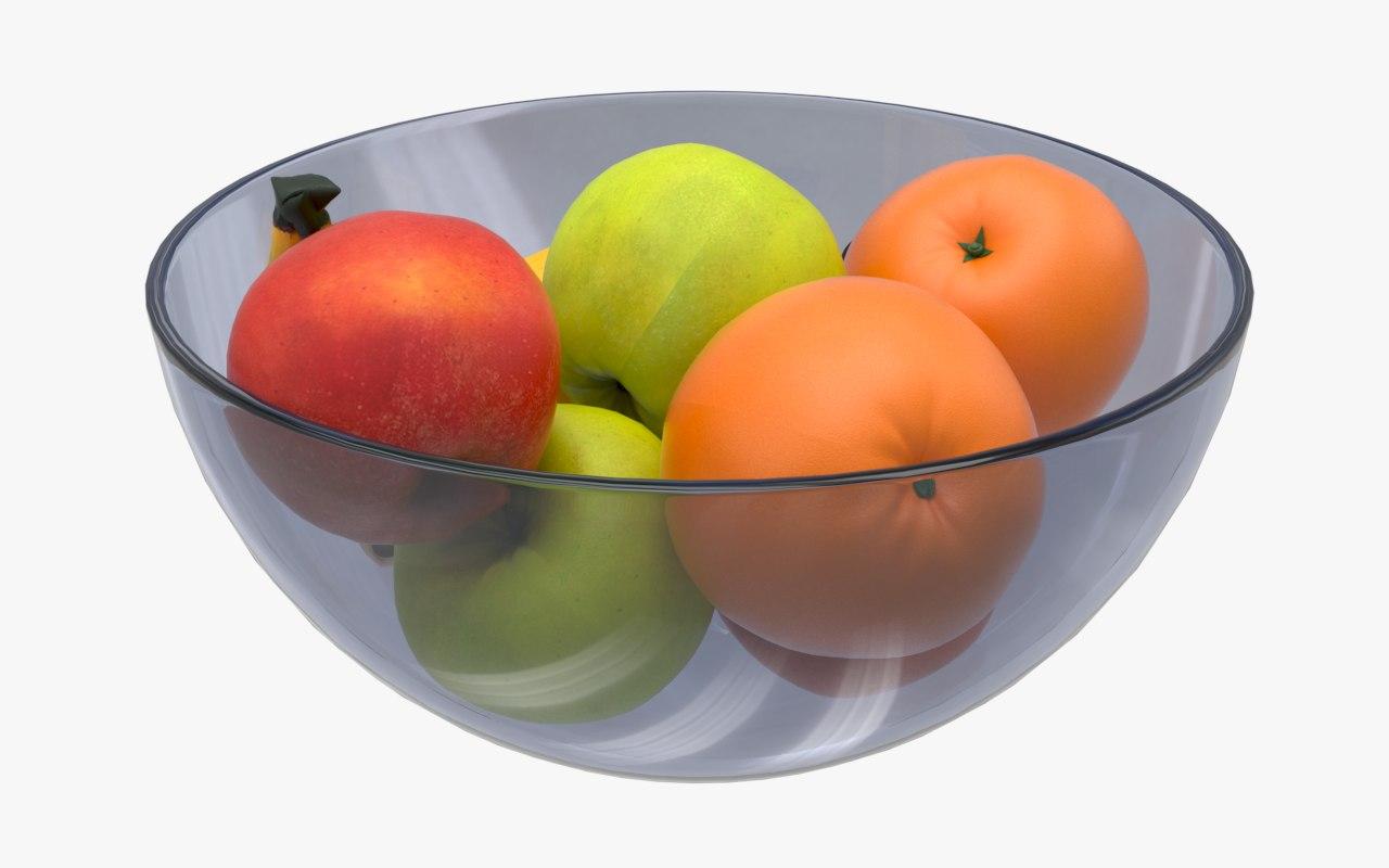 glass bowl fruits apple 3D