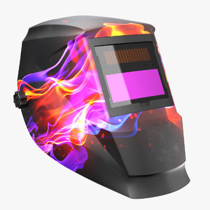 welding helmet flame decal 3D model
