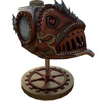 3D fish steampunk pbr