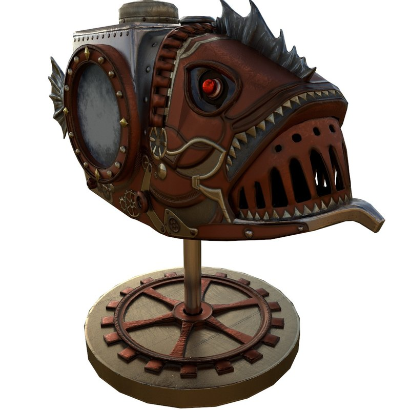 3D fish steampunk pbr