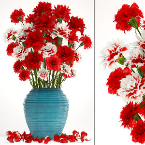 3D bouquet flowers red carnation model