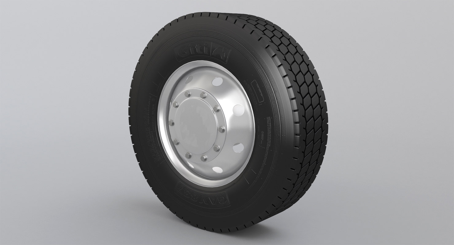 3D semi truck wheel tire model
