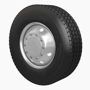 3D semi truck wheel tire model