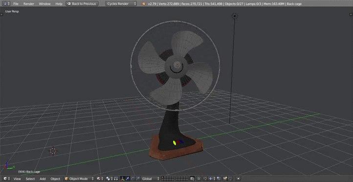 3D model desk fan