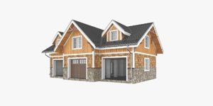 3D model exterior timber house