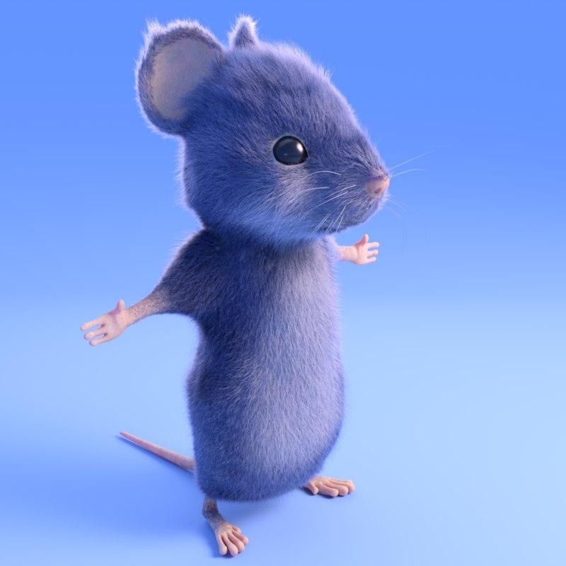 3D grey mouse - model