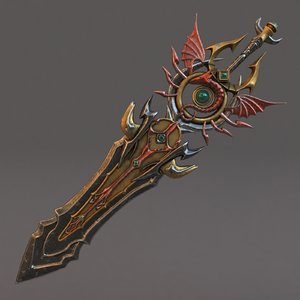 fantasy sword 11 modeled 3D model