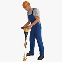 Construction Worker with Hand Held Concrete Paddle Mixer Rigged 3D Model