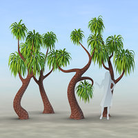 set trees palm 3D