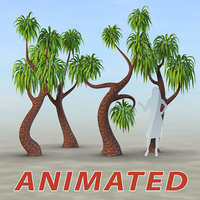 set trees palm animation 3D model