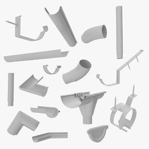 plastic rain gutter 3D model
