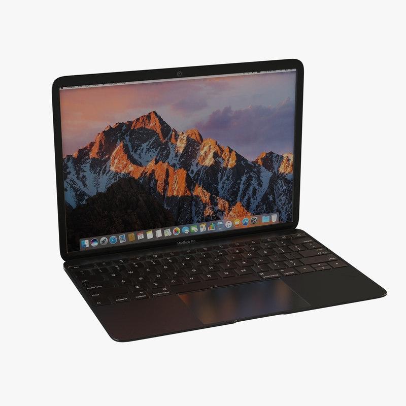 3D laptop space grey model