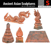3D ancient asian sculptures pack