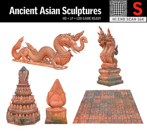 3D ancient asian sculptures pack