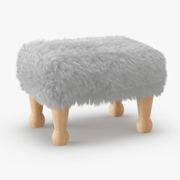 wool angharad sheepskin footstool 3D